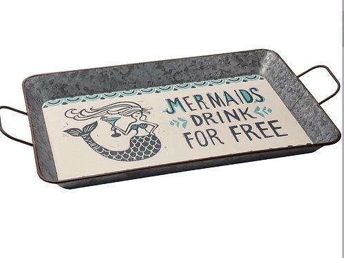 Metal Serving Tray - Mermaids Drink Free