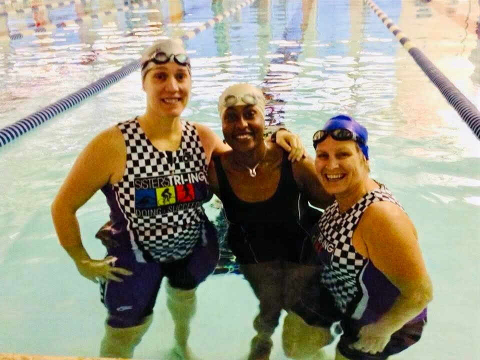 Female Triathlete Endurance Swimmers One Mile Workout Completion