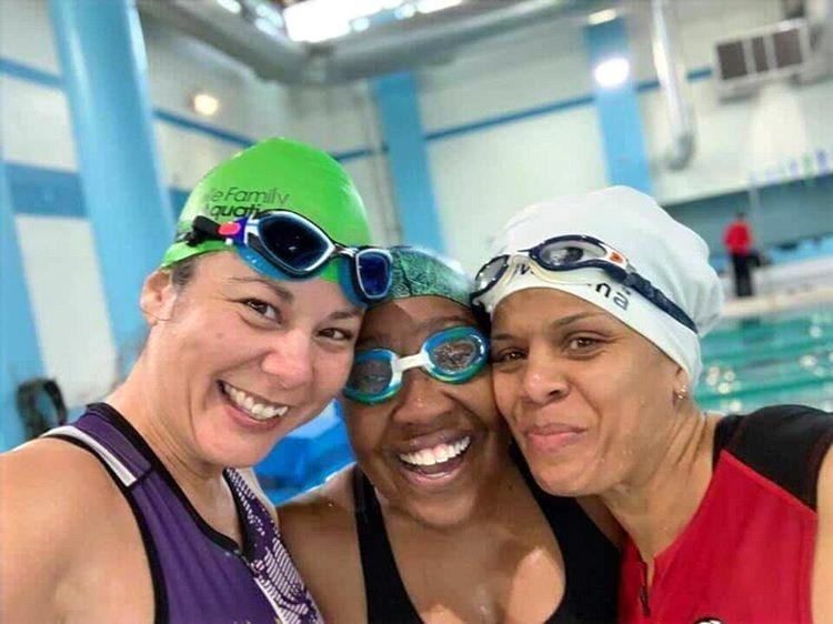 Indoor Triathlon Race Participants at Pool