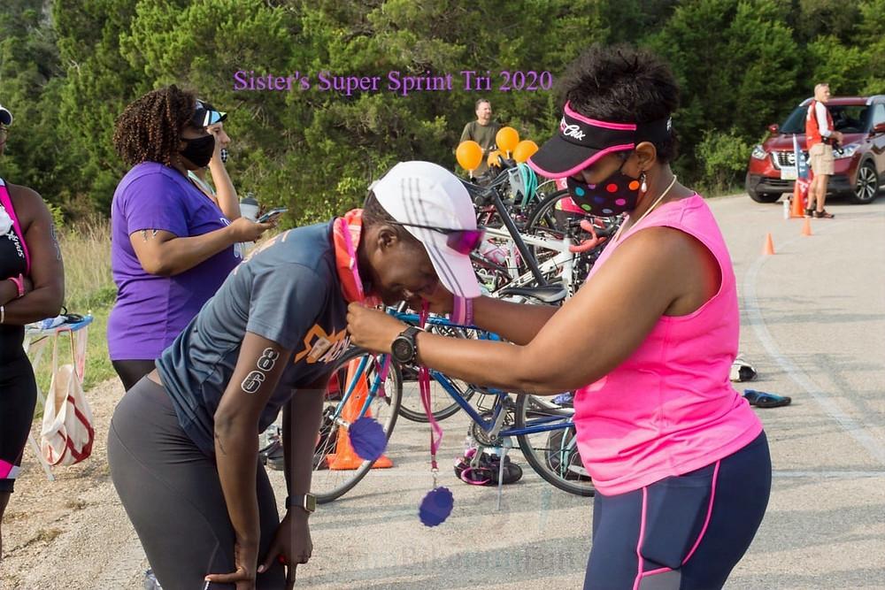 Sisters Sprint Triathlon Swim Exit Triathlete