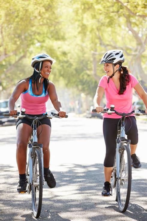 Women Cyclists Having Swim Bike Run Fun Trail Riding
