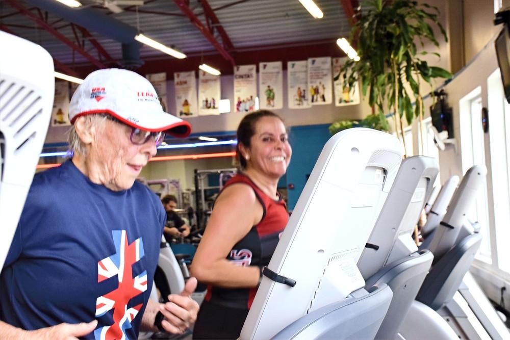 Adult Females Indoor Triathlon Running on Treadmill
