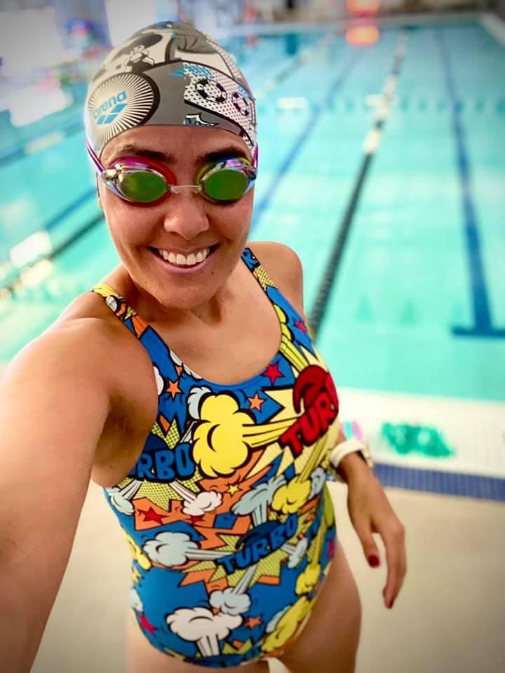 Female Triathlete Swim Training in the Pool