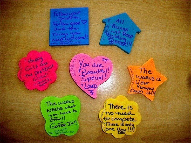 positive statements on post-it notes for motivation