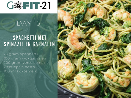 GOFIT-21   Spaghetti met spinazie en garnalen
