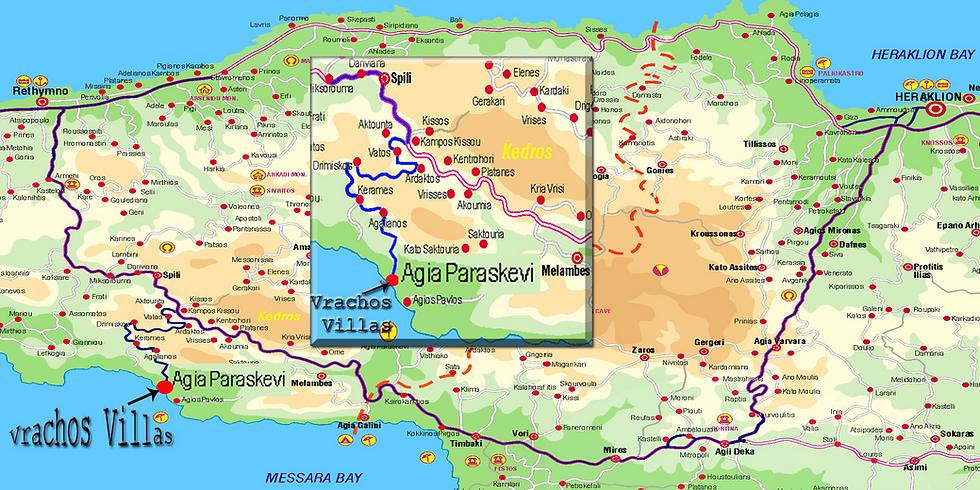 Route map to Vrachos Villas