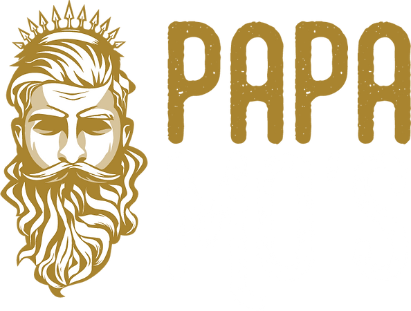 PapaMos_Logo_Landscape gold and white.pn