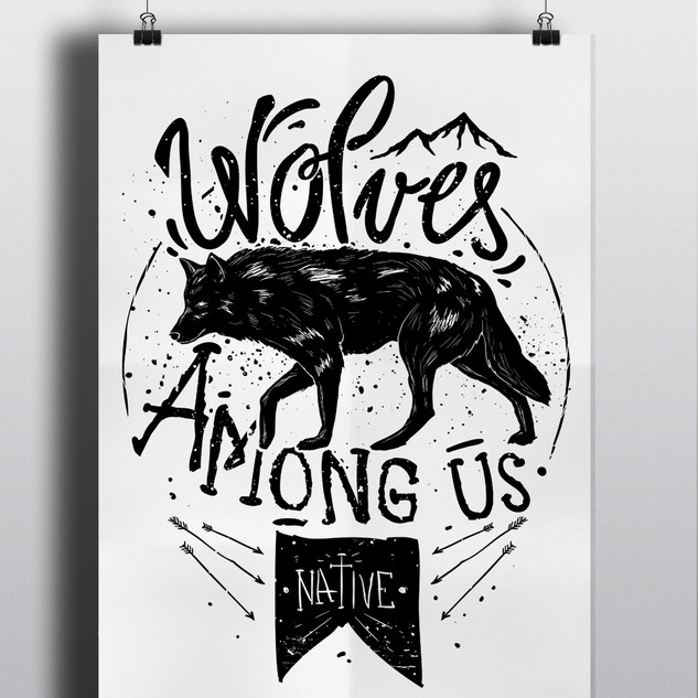 WOLVES AMONG US WALL PRINT