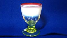 氷コップ3色(明治~大正期)金赤、白、黄緑色(ウランガラス)