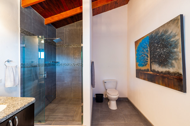 Stand-in showers throughout the villa