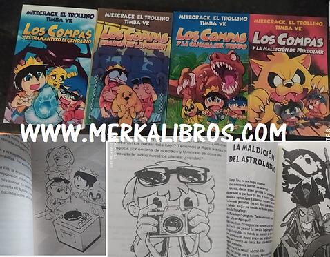 Los Compas  x 4 libros Coleccion Ecomico Blanco y negro + Gratis Cachucha Mikecr