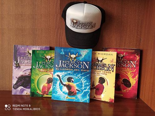 Coleccion Percy Jackson primera x 5 Libros Rick Riordan Gratis Gorra Percy