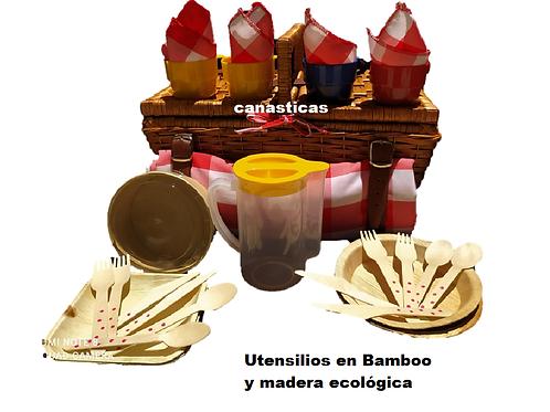 Canastas Picnic Máxima Familiar x 4 Puestos Con Dotacion Ecológica