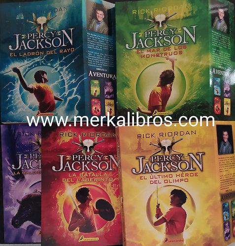 Coleccion Percy Jackson + solapa primera x 5 Libros Rick Riordan Gratis Gorra Pe