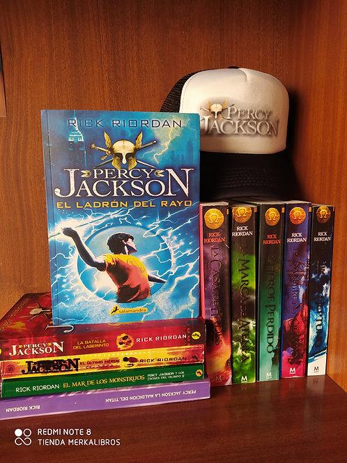 Coleccion Percy Jackson x 10 Libros Rick Riordan +Gorra Percy +Libro Dioses Grie