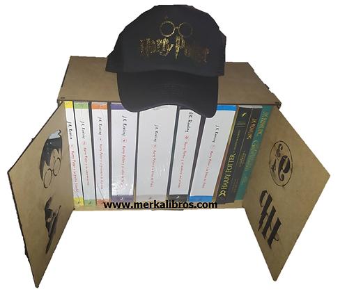 Caja Harry Potter Con Colección De 10 Libros Saga J.K. Rowling + Cachucha