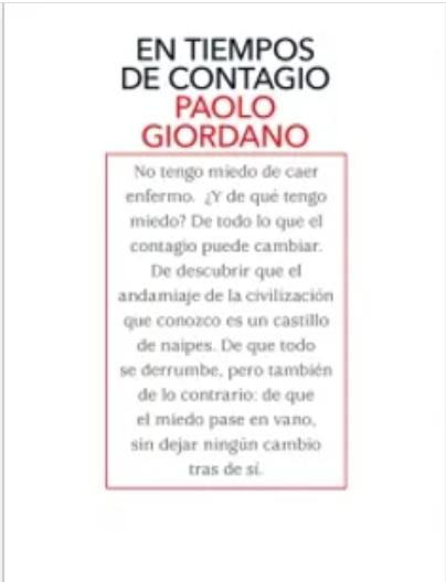 En Tiempos De Contagio Libro Paolo Giordano