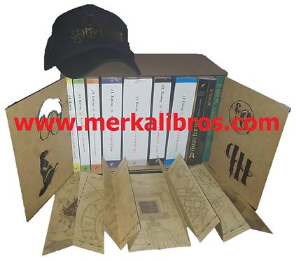 Caja Harry Potter x 10 Saga J.K. Rowling + cachucha+ Mapa Merodeador