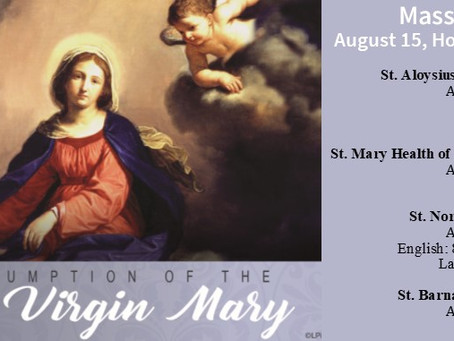 August 15th: Holy Day of Obligation