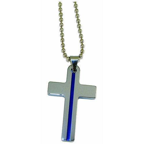Blue Line Cross Necklace