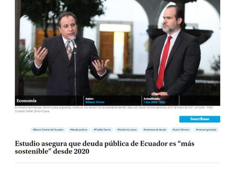 """Estudio asegura que deuda pública de Ecuador es """"más sostenible"""" desde 2020 [Primicias]"""