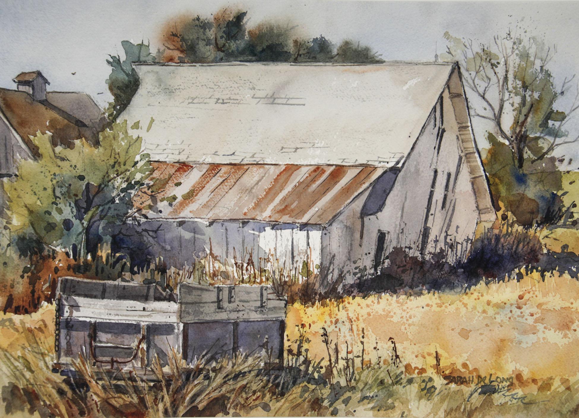 White Barn and Wagon