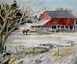 Red Barn and Horse