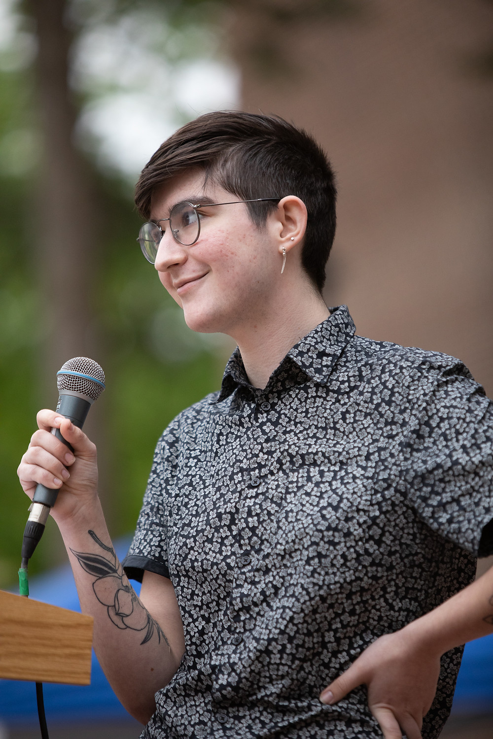 Hayden Troup speaking at the Stop the Bans rally in Ann Arbor on May 21, 2019.