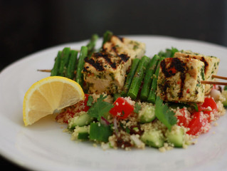 Tofu and Asparagus Kebabs with Moroccan Couscous Salad