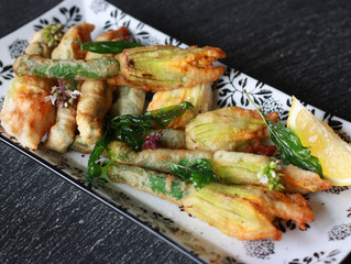 Silken Tofu and Herb Stuffed Zucchini Flowers