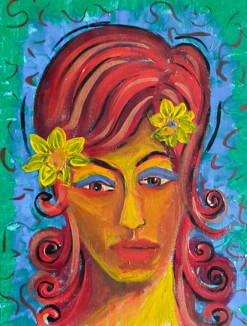 Lady with the yellow flower