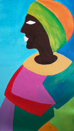 The lady with the colorful robe