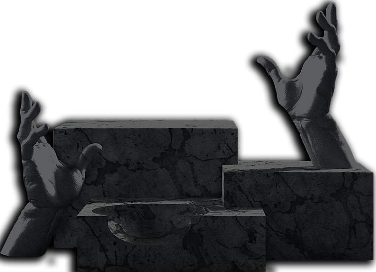 3d-render-white-marble-podiums-with-hand