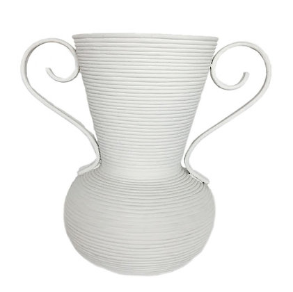 White Plaster Covered Rattan Vase