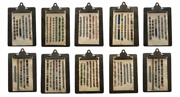 Vintage Textile Strips Mounted to Clipboard