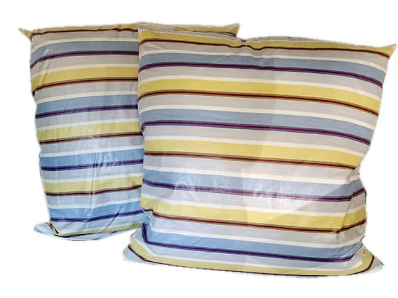 Pair of Waxed Linen Striped Pillows