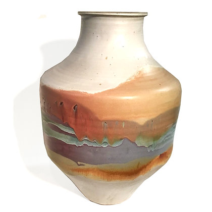 Massive multi-color ceramic floor vase