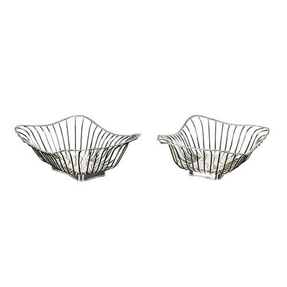 Pair of Italian Silver Plate Wire Baskets