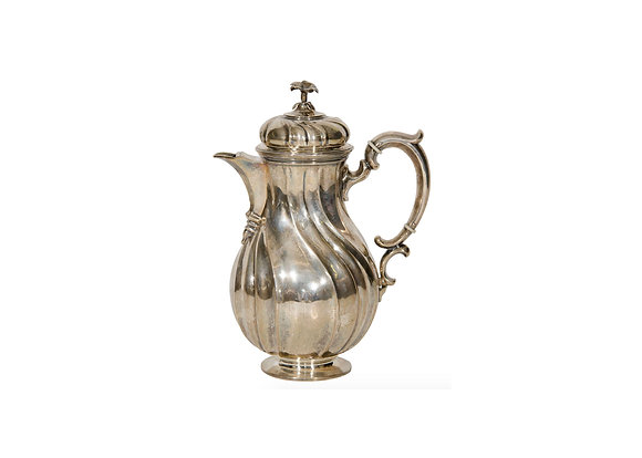 SILVERED METAL COFFEE POT Provenance: Karl Lagerfled