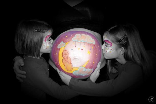 Maquillage grossesse - bébé sur la lune