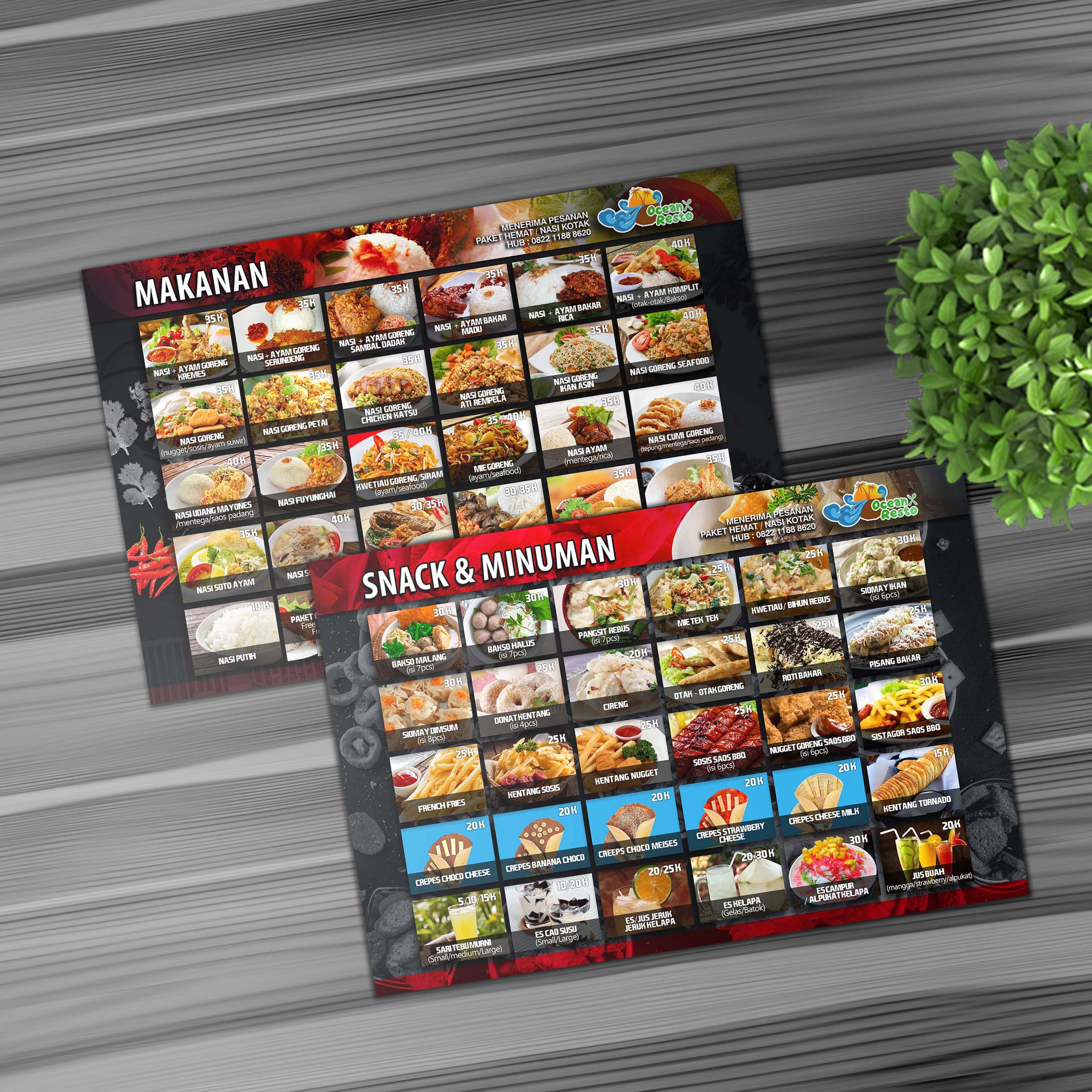 Ocean Resto Food & Snack Menu