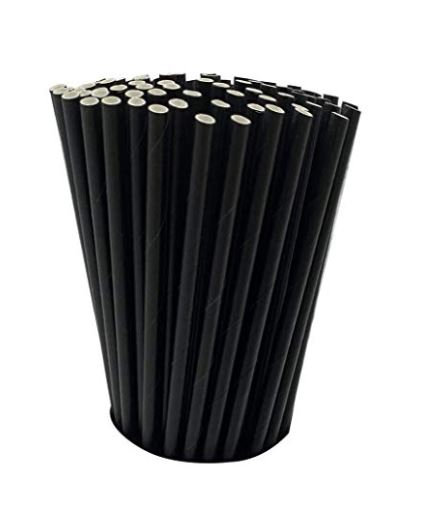 """Cocktail Straw -Unwrapped 5.75"""" Black 3-PLY - 500 Count"""