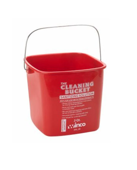 3qt Cleaning Bucket, Red Sanitizing Solution