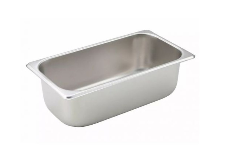 """Straight-sided Steam Pan, 1/3 Size, 4"""", 25 Ga S/S"""