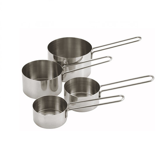Measuring Cup Set, 4pcs, Wire Hdl, S/S
