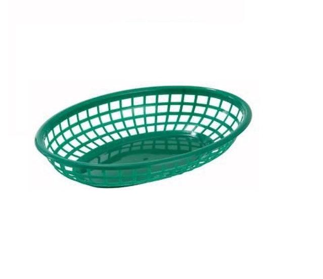 """Fast Food Baskets, Oval, 9-1/2"""" x 5"""" x 2"""", Green [12/1]"""