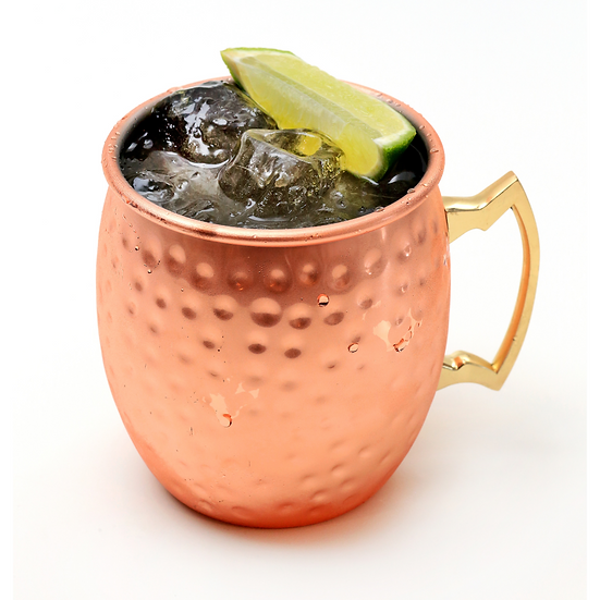 19.5oz Moscow Mule Mug, Hammered, Copper-Plated, Brass Handle