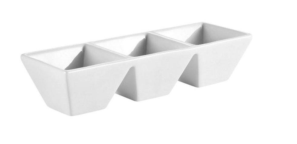Rectangular 3 Compartment Tasting Bowl - Each