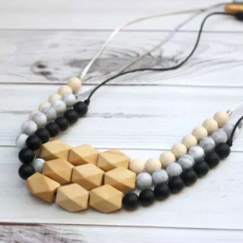 Silicone Teething Necklace + Wood