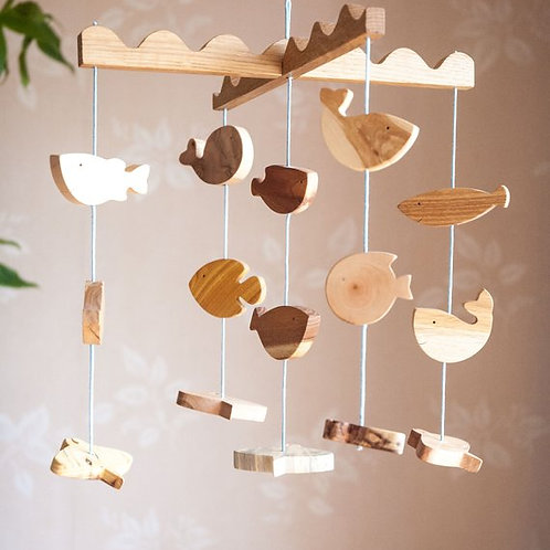 Sea Creatures Wooden Baby Mobile